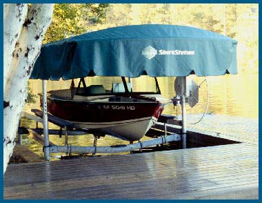 Shorestation canopies and electric motors for Electric boat lift motor